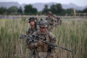 US soldiers patrol in Zharay district in Kandahar province, southern Afghanistan